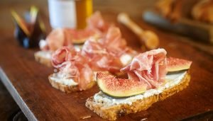 Tartine of Goats Cheese, Parma Ham and Figs